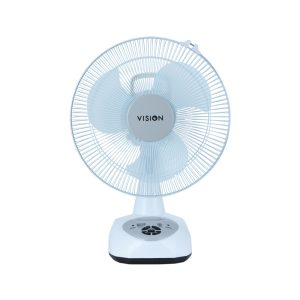 """VISION Rechargeable Table Fan 12"""" White USB charger"""